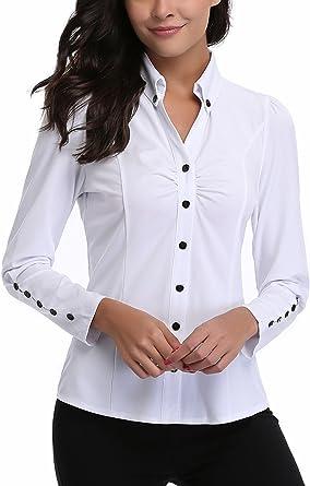MISS MOLY Camisas Para Mujeres con Decoración de Botón con Cuello EN V con Volantes, Pecho Fruncido: Amazon.es: Ropa y accesorios