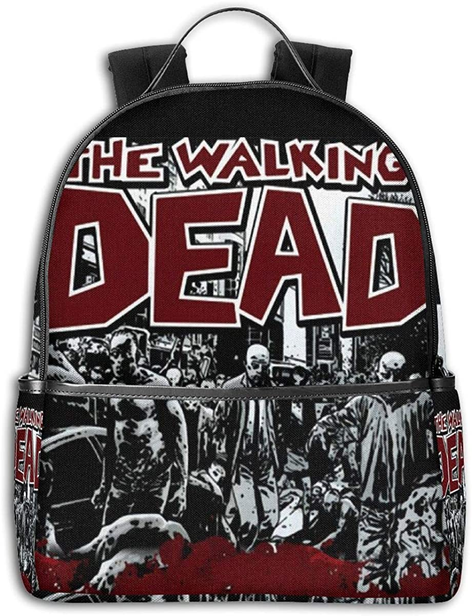 Qmad Girlâ€s The Walking Dead Kill Black-edged Endurable Full Print Backpacks For Outdoor Activities