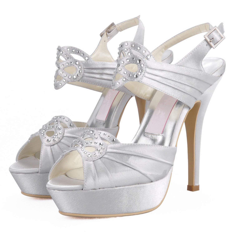 Qiusa GYMZ708 Frauen Plattform Slingback Satin Abend Party Prom Prom Prom Braut Hochzeit Schuhe Pumps Sandalen Flatfs (Farbe   Ivory-12cm Heel Größe   9 UK) 29753f