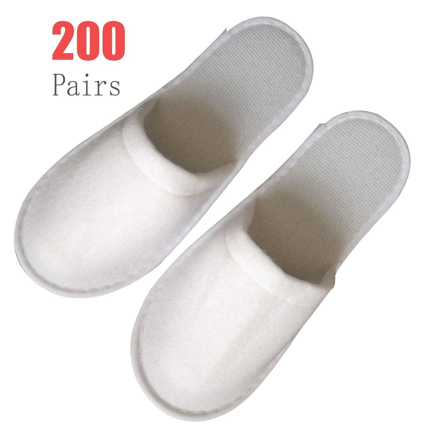 200Pairs Slippers Women and Men Disposable Portable Hotel Disposable Closed Toe Pull Plush Spa Slippers Women's Comfort Slip Waffle Slippers Men Universal Size Spa-