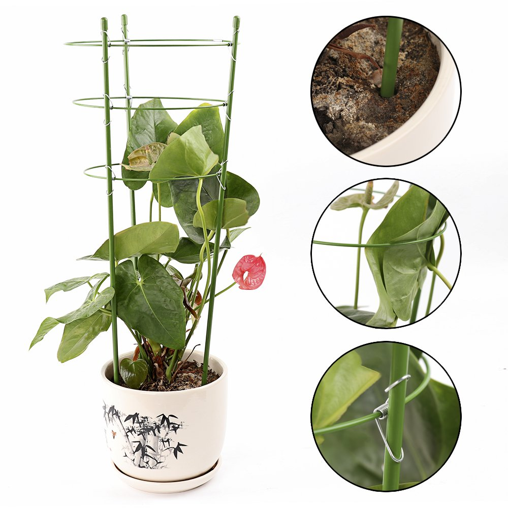 Climbing Plants Support,Plant Support Ring Garden Trellis Flower Iron Support Climbing Plant Grow Cage with 3 Adjustable Rings,Set of 2