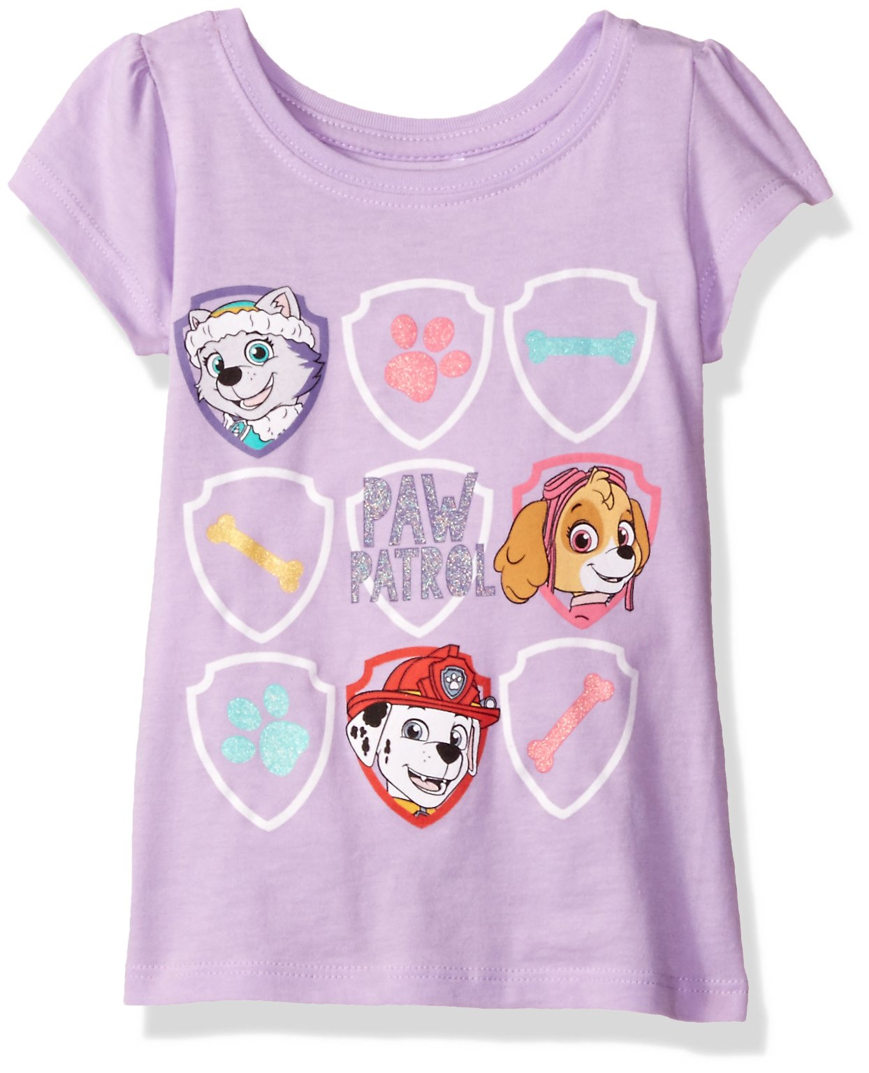 Nickelodeon Little Girls' Toddler Paw Patrol Group Short-Sleeved Puff T-Shirt, Lilac, 5T