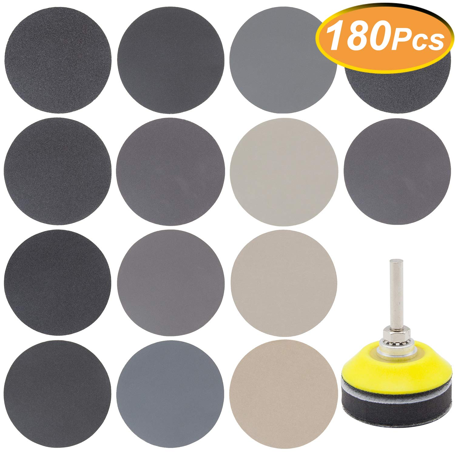 """180 PCS 2 Inch Sandpaper, GOH DODD Wet Dry Sander Sheets with Backer Plate 1/4"""" Shank and Soft Foam Buffering Pad, 60 to 10000 Grits Grinding Abrasive Sanding Disc for Wood Metal Mirror Jewelry Car"""