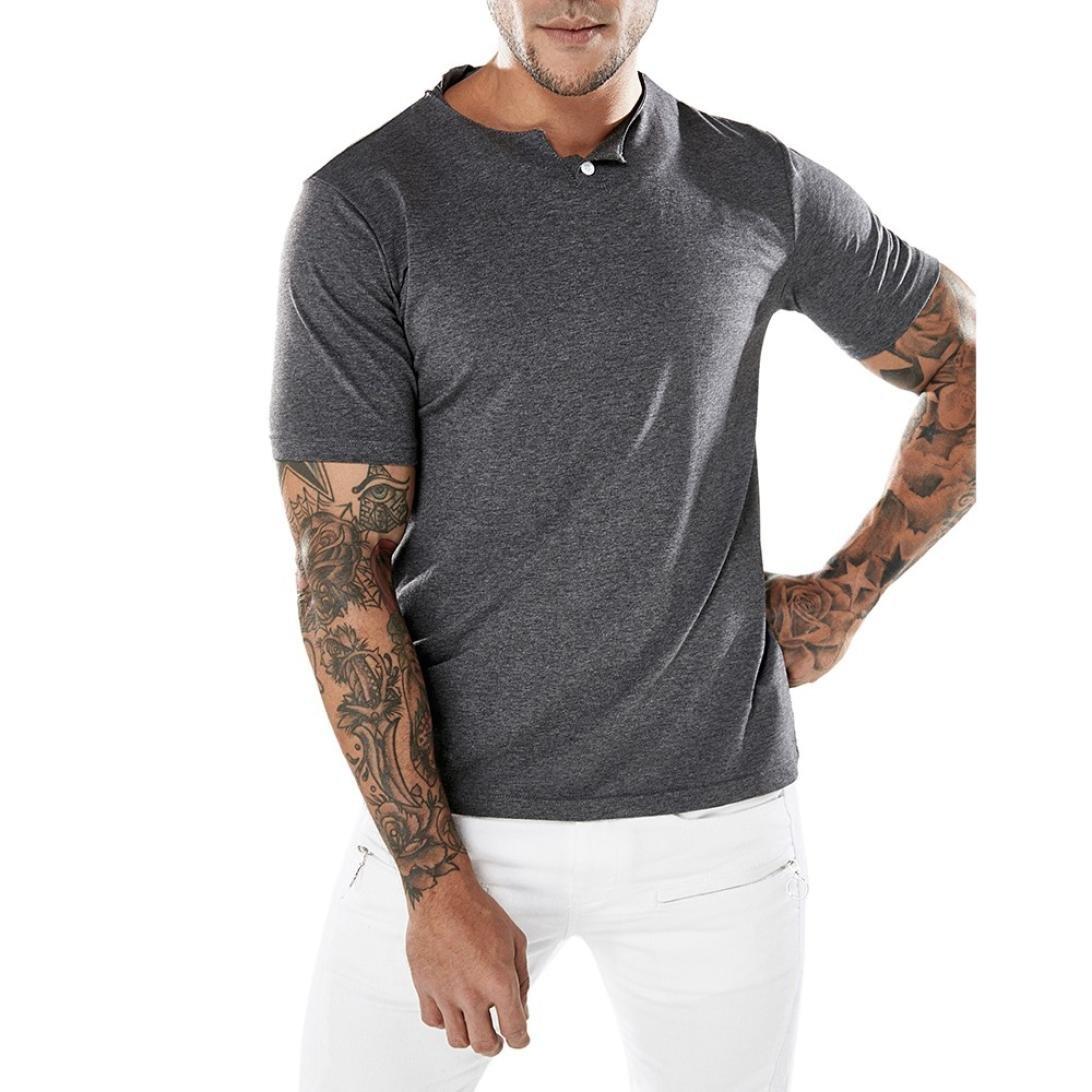 Cinnamou Mode Hommes Est Décontracté Slim Manche Courte T-Shirt Tops Muscle Haut Chemisier Manteau Sport Décontracté Simple Couleur Unie Sport T-Shirt Top Blouse