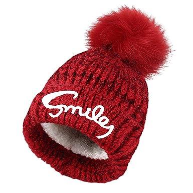 Vbiger 3-10 ans Bonnet chaud pour enfants bonnet avec la lettre et épais  avec 6979aea1347