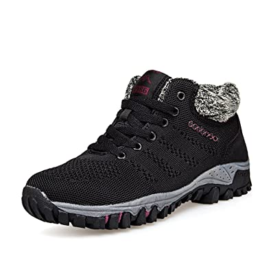 Super Lee Damen Wander Sneaker Warme Gefüttert Winter Boots Winterschuhe Outdoor Sport Schuhe, Schwarz, 38 EU