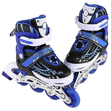 4cd2ca392a8 Amazon.com : Inline Skates for Kids Boys/Girls- Adjustable Rollerblades  Eight Illumination Wheels Aluminum Frame Roller Skates Size 12 1 2 3 4 5 6  Teens ...