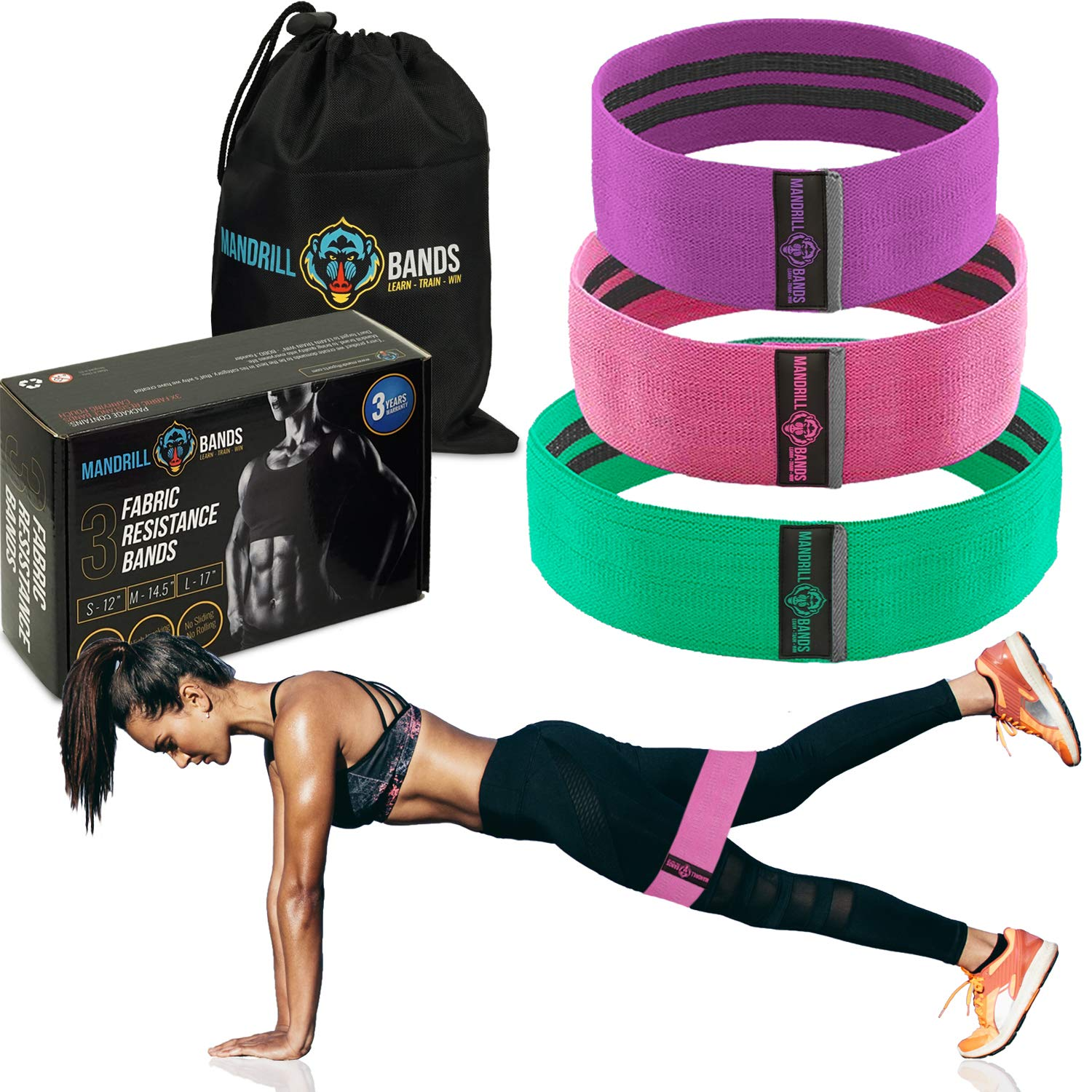 Fabric Resistance Bands (3 Pack) - No Slip - Exercise Bands for Legs and Booty. Perfect Resistance Loop Bands for Squats, Legs, Thigh and Hip Bands Workout + Carrying Bag + 3 Years Warranty