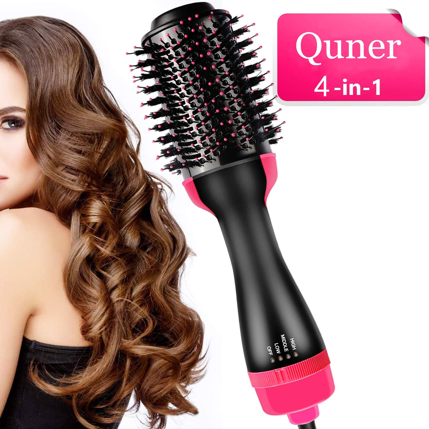 Hot Air Brush 4 in 1 One Step Ionic Hair Dryer Volumizer Smooth Frizz for Wet Straight Curly Hair