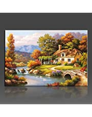 WONZOM Paint By Numbers Kits Canvas Mounted on Wood Frame with Brushes Paints for Adults Children Seniors Junior DIY Beginner Level Acrylics Painting Kits on Canvas-Country Cottage 16*20 Inch