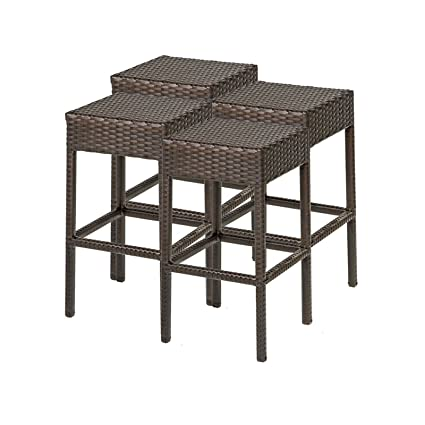 Outstanding Amazon Com Tkc Napa Backless Outdoor Wicker Bar Stools In Inzonedesignstudio Interior Chair Design Inzonedesignstudiocom