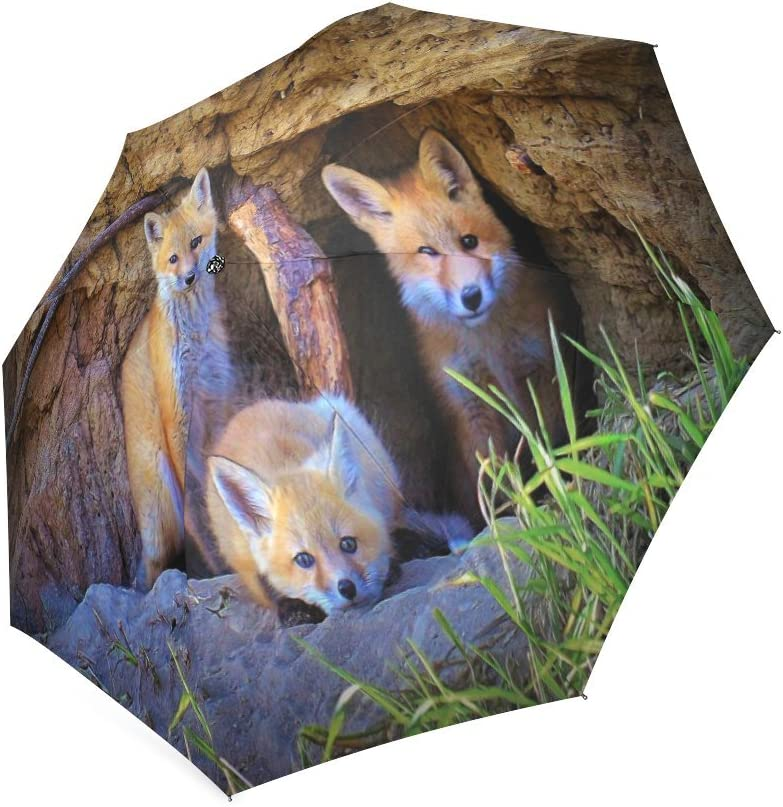Custom Cute Red Foxes Cubs Compact Travel Windproof Rainproof Foldable Umbrella
