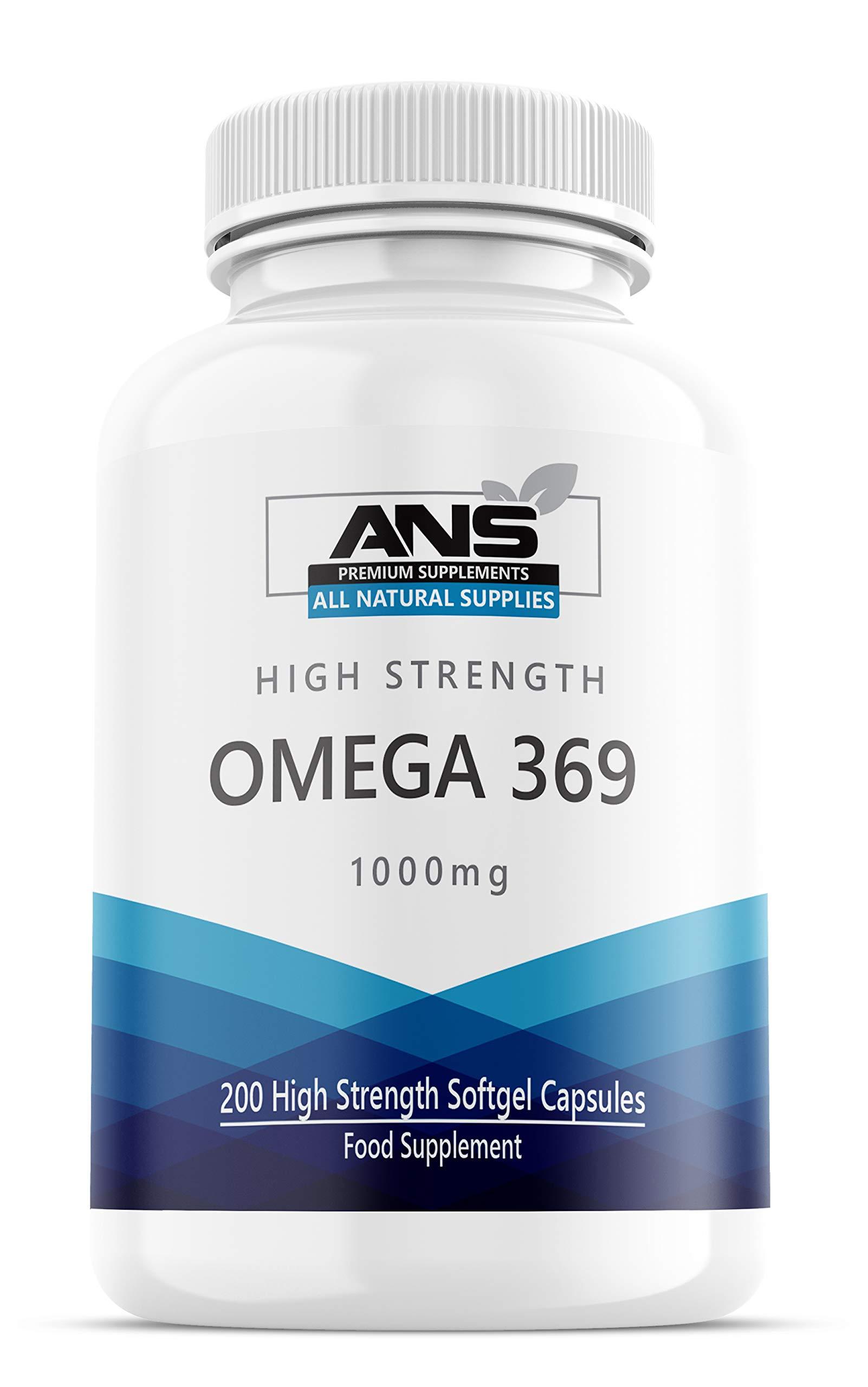 All Natural Omega 3 6 & 9, Pack of 200 1000mg High Strength Liquid softgels