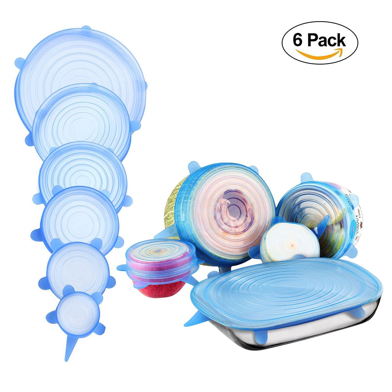 Silicone stretch coperchi, riutilizzabile silicone Bowl Lids food Saver Covers Wrap Bowl pot Cup coperchio Confezione da 6 Blue FAVOLOOK
