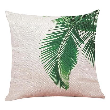 Lenfesh Fundas de Cojines Almohada de Plantas Tropicales Hoja Verde Decorativos Diseño para Sillas Camas Sofás Sofás (L)