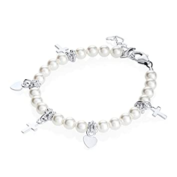 Sterling Silver Toddler Girl Charm Bracelet - With Swarovski Simulated Pearls and Silver Cross and Heart