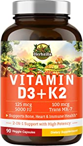 Herbzilla Vitamin D3 5000 IU Plus Vitamin K2 All-Trans Form MK7, 2 in 1 Support, Soy Gluten Free, Non-GMO, Bone, Heart, Immune, Teeth, Joint Health and Muscle Function, Calcium Absorption, 90 Veg Caps