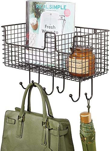 mDesign Metal Wire Farmhouse Wall Decor Storage Organizer Basket with 6 Hooks for Entryway, Hallway, Mudroom, Bedroom, Bathroom, Laundry Room – Wall Mount – Bronze