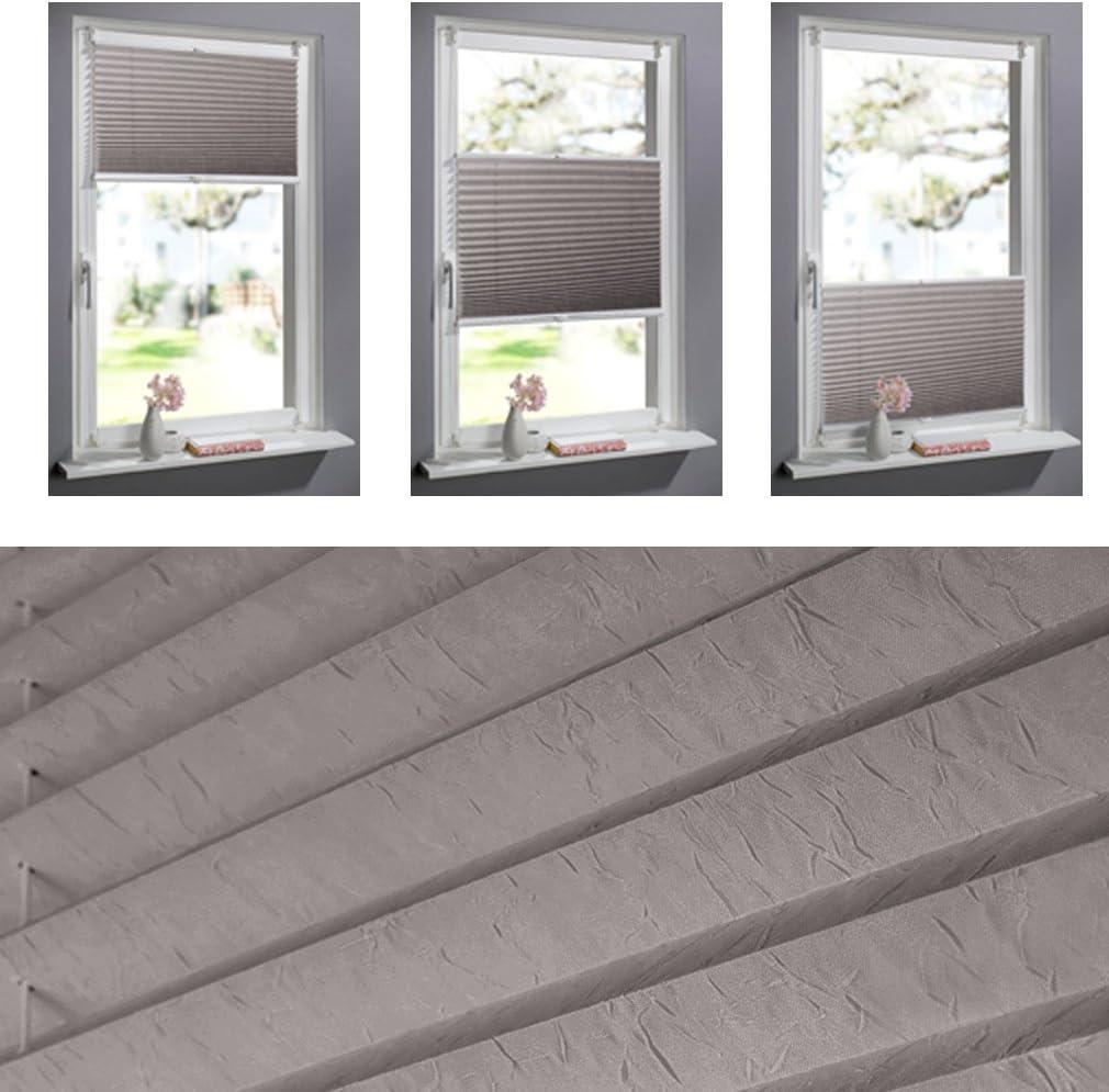 SHINY HOME® 100 X 130 cm marrón sola capa PVC ajustable alta calidad Classic Easy Fit elegante plisado Persiana Veneciana Shades con soporte de abrazadera para cortinas: Amazon.es: Hogar