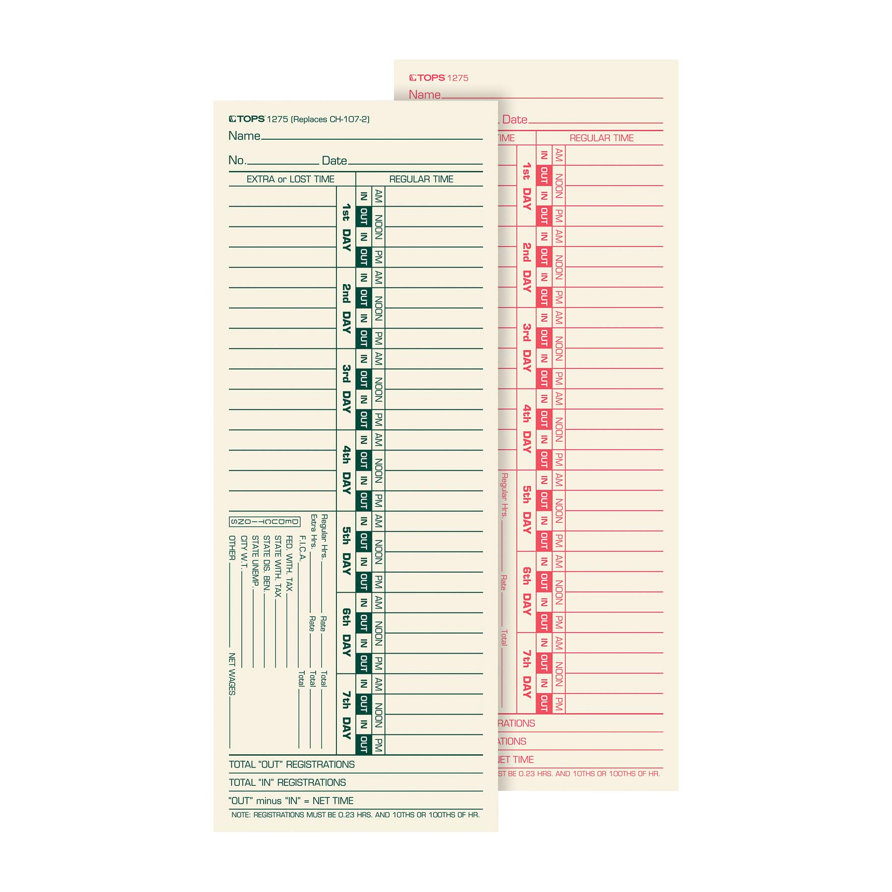 TOPS Time Cards, Bi-Weekly, 2-Sided, Numbered Days, 3-1/2'' x 9'', Manila, Green/Red Print, 500-Count (1275)