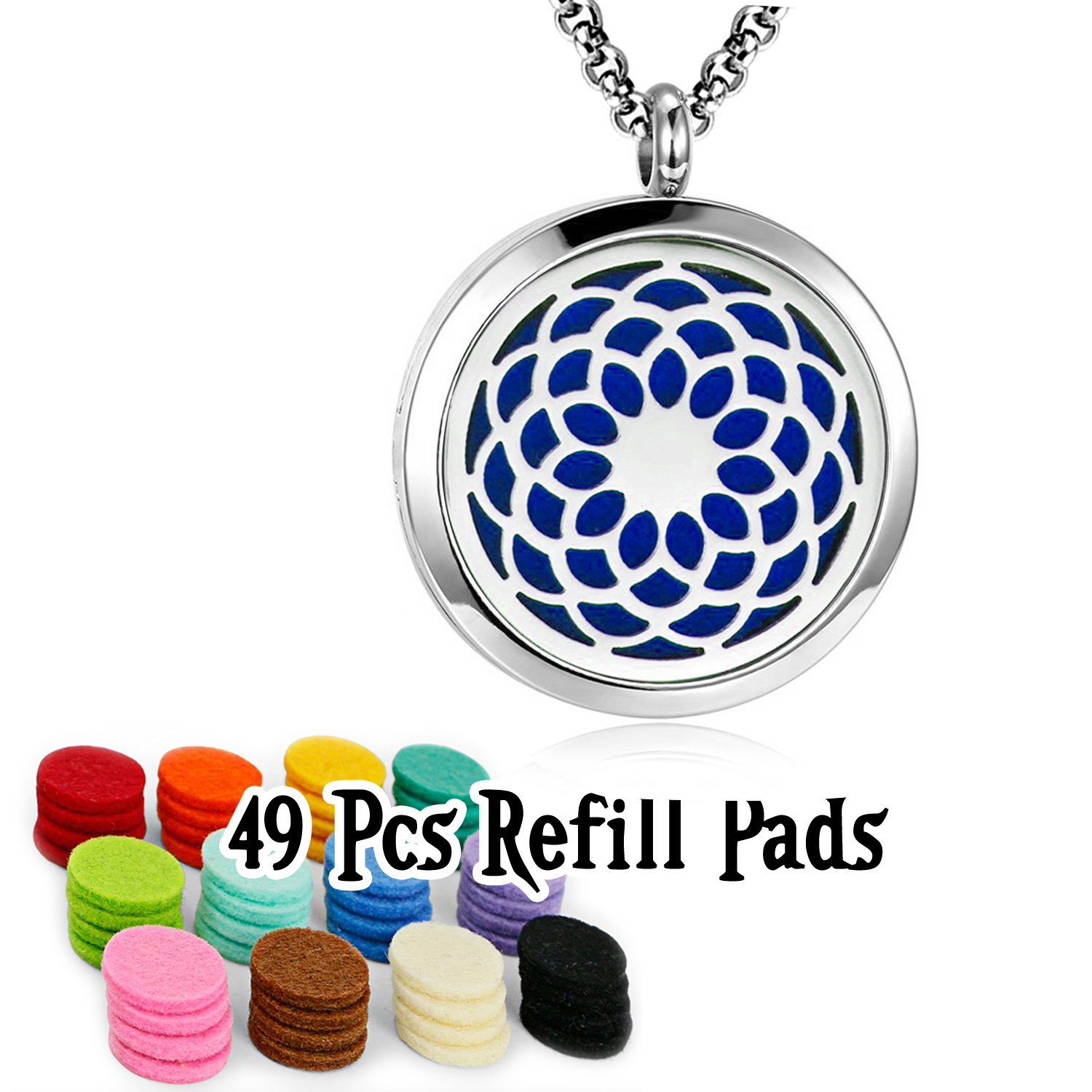 YOUFENG Essential Oil Necklace Diffuser Family Tree of Life Necklace Pendant Aromatherapy Locket 49 Refill Pads HJFL018-49