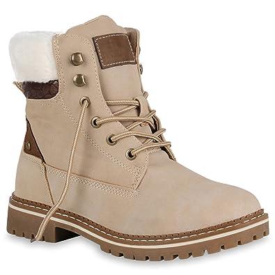 f76ff0707d8108 Damen Stiefeletten Leicht Gefütterte Worker Boots Outdoor Schuhe 149032  Creme Brooklyn 36 Flandell