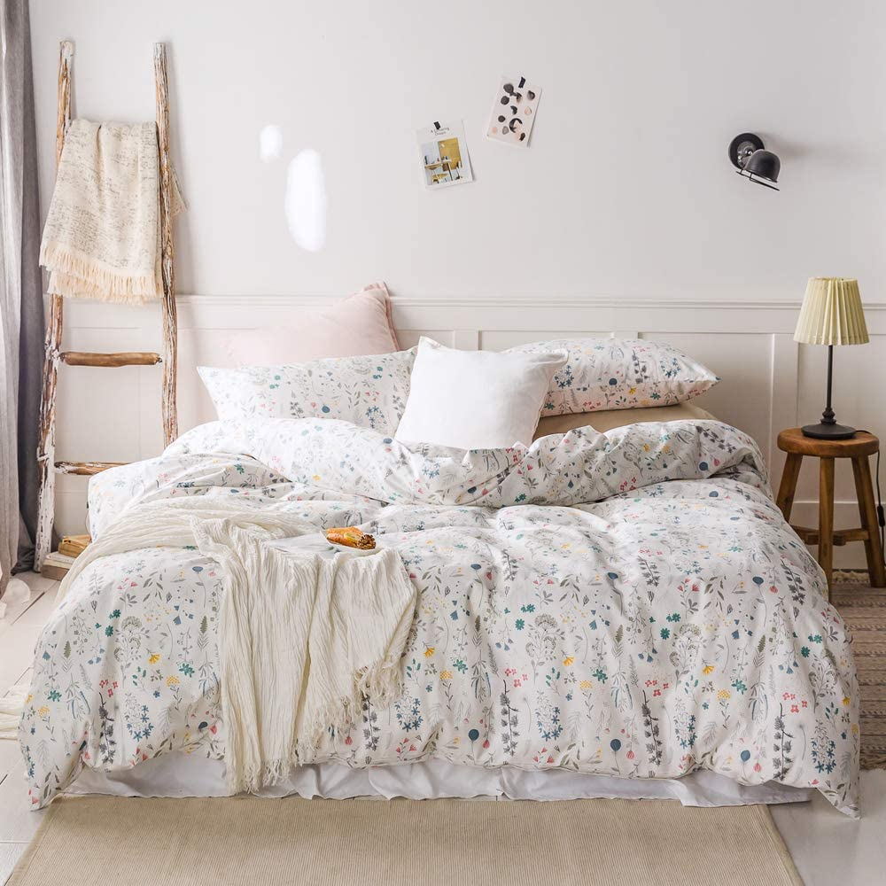 AOJIM Japanesae Style Kawaii Floral 3 PCS 100% Cotton Flower Duvet Cover Sets for Kids/Adults 2 Pillowcases Reversible Twin Size