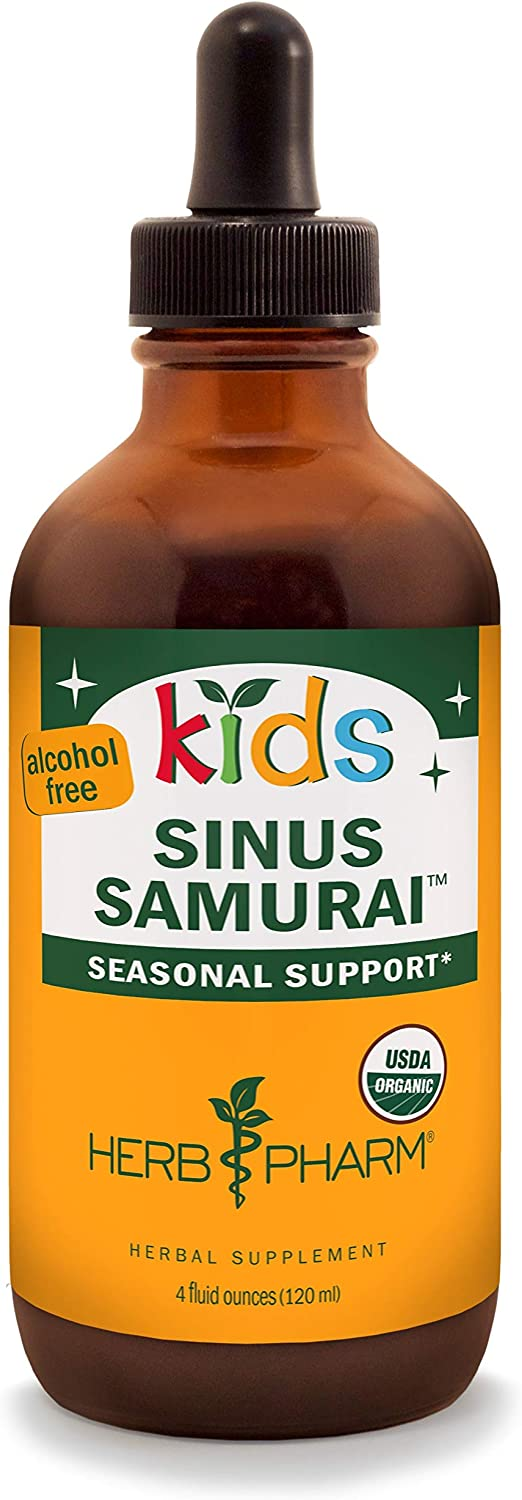 Herb Pharm Kids Certified-Organic Alcohol-Free Sinus Samurai Liquid Herbal Formula, 4 Ounce