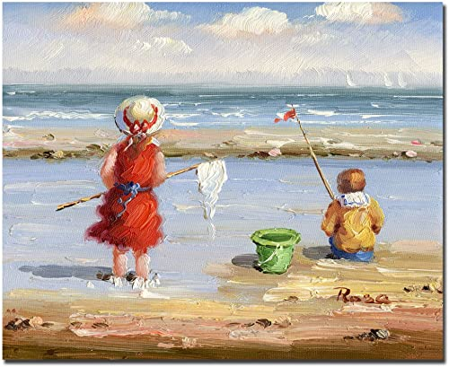At the Beach II by Master s Art, 26×32-Inch Canvas Wall Art