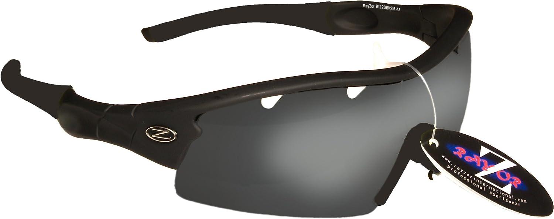 con un 1 pezzo di fumo scaricato obiettivo rispecchiato. Rayzor professionali leggeri UV400 Nero Sport Wrap Tiro con larco occhiali da sole