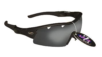 Rayzor Professionelle Leichte UV400 Schwarz Sports Wrap Segelsport Sonnenbrille, Mit einer 1 Stück Entlüfteter Smoke Widergespiegeltes Objektiv.