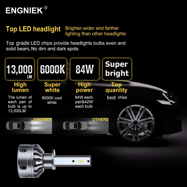 13,000Lm H4 LED Headlights Bulb 9003 All In One Conversion Kit 42W 6000K High Low Beam Headlamp No Dark Spot,2PCS