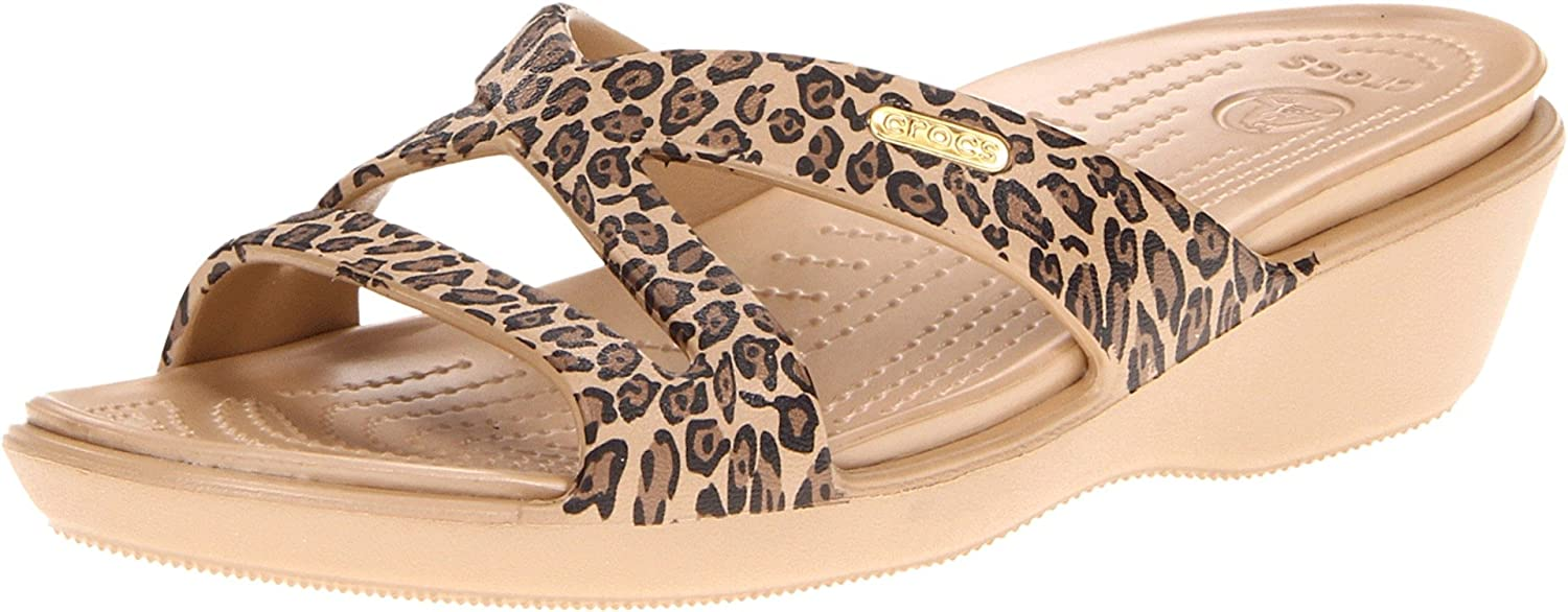 Womens crocs Women's Patricia II Leopard Print Wedge Factory Outlet Size 36
