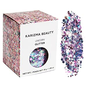 Unicorn Chunky Glitter ✮ Large 30g Jar KARIZMA BEAUTY ✮ Festival Glitter Cosmetic Face Body Hair Nails
