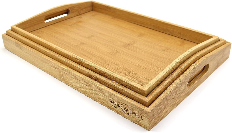 Juego de 3 bandejas de bambú para servir | Platos de madera | Bordes elevados y peso ligero | Perfecto para el desayuno en Bed & Tea | Bandeja de servicio con asas | M&W
