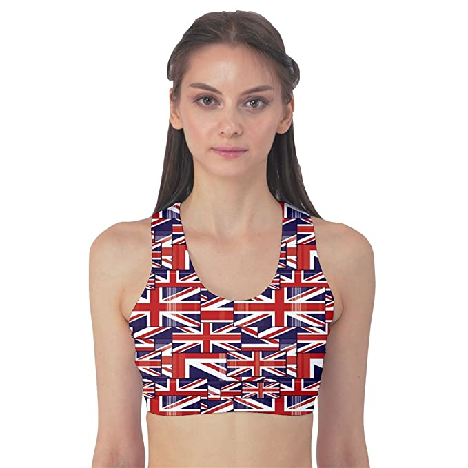 CowCow Red Pattern of British Flag Women s Sport Bra at Amazon ...