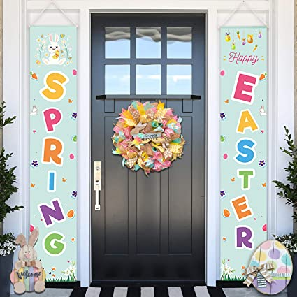Amazon Com Easter Porch Sign Banner Happy Easter Spring Front