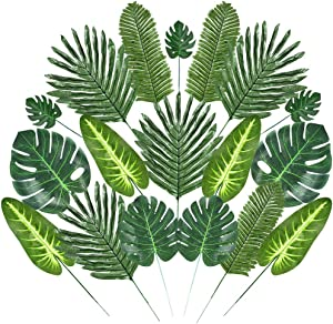 Auihiay 40 Pieces 6 Kinds Artificial Palm Leaves Tropical Palm Leaves with Stems Faux Palm Leaves for Home Decor Hawaiian PartyDecorations JungleLuau Birthday Party Decorations