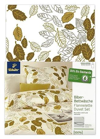 Tcm Tchibo Biber Bettwäsche Weiß Grün Mit Blätter Print 135 X 200