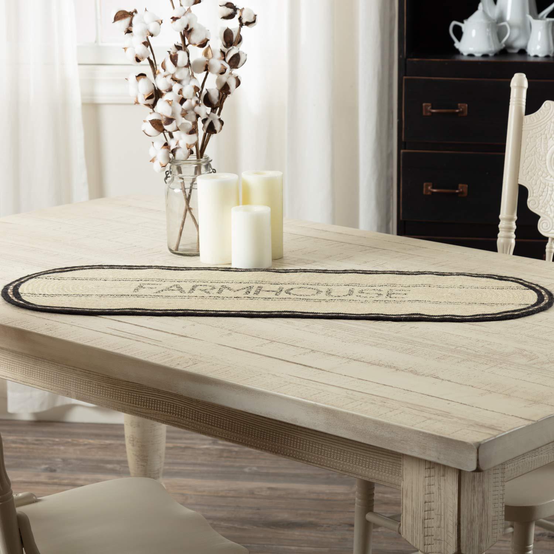 VHC Brands 38029 Tabletop /& Kitchen-Sawyer Mill White Farmhouse Jute Runner 13x36 Unique