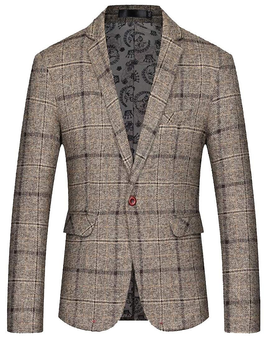 Gocgt Men One-Button Suit Formal Plaid Stripe Print Blazer Jacket Coat