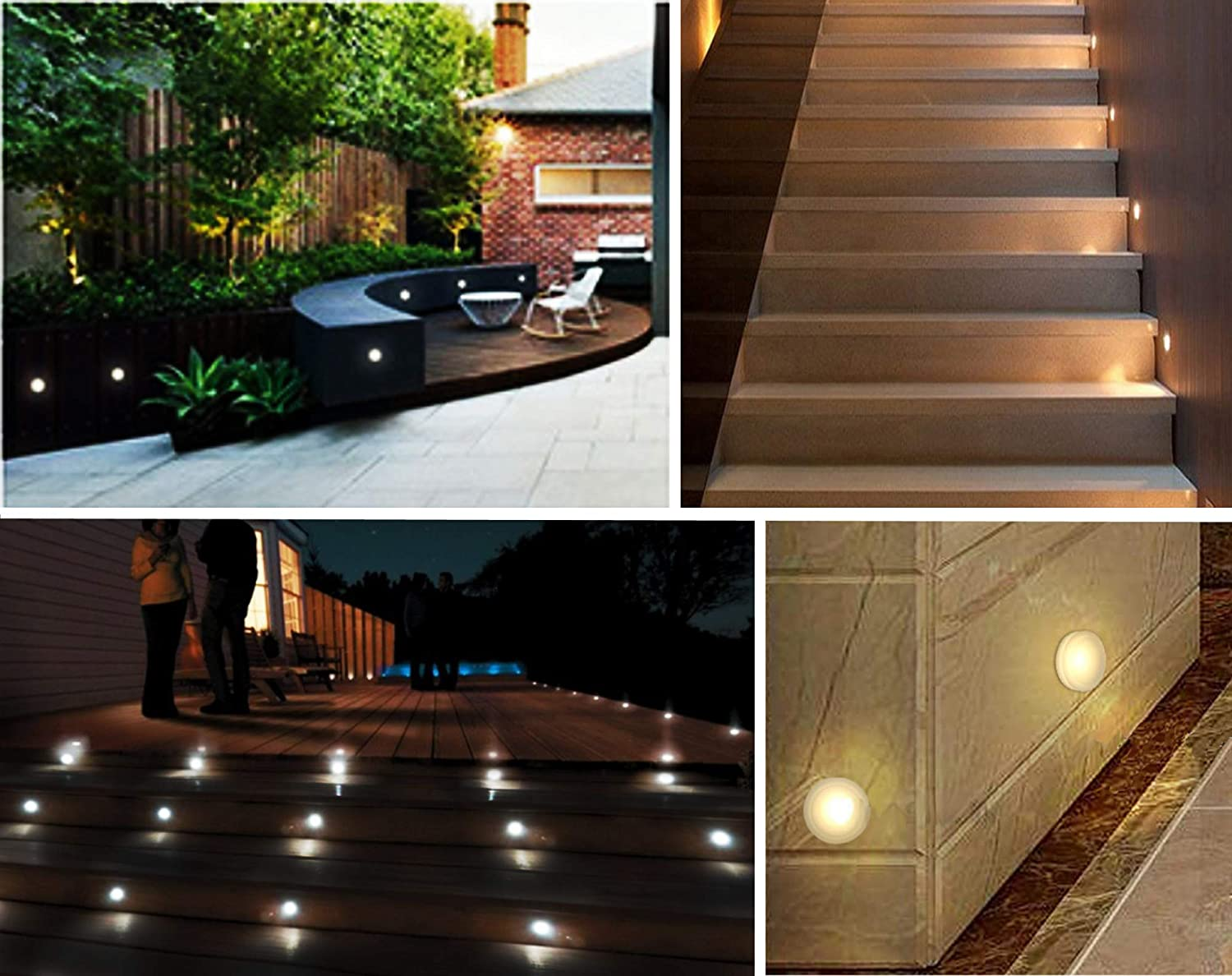 CNBRIGHTER LED Recessed Wall Lamp Aluminum 12V-24V DC Outdoor IP67 Waterproof,Acrylic 3000K Moonlight,1 Watt Warm White Landscape Lighting for Porch Deck Stair Step Foot of Wall