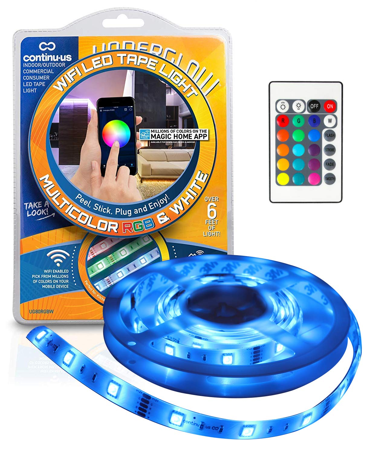 LED Strip Lights WiFi Enabled - Underglow Smart Ribbon Light Kit by Continu.us | Waterproof, Lightweight Tape Light. Millions of Colors Controlled by Smartphone or Remote.