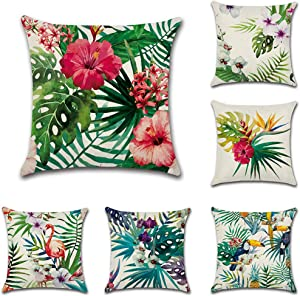 Bekith 6 Pack Home Decorative Throw Pillow Case Cotton Square Cushion Cover for Sofa Couch Car Bed - Flamingo Tropical Flower Leaves Pattern 18 x 18