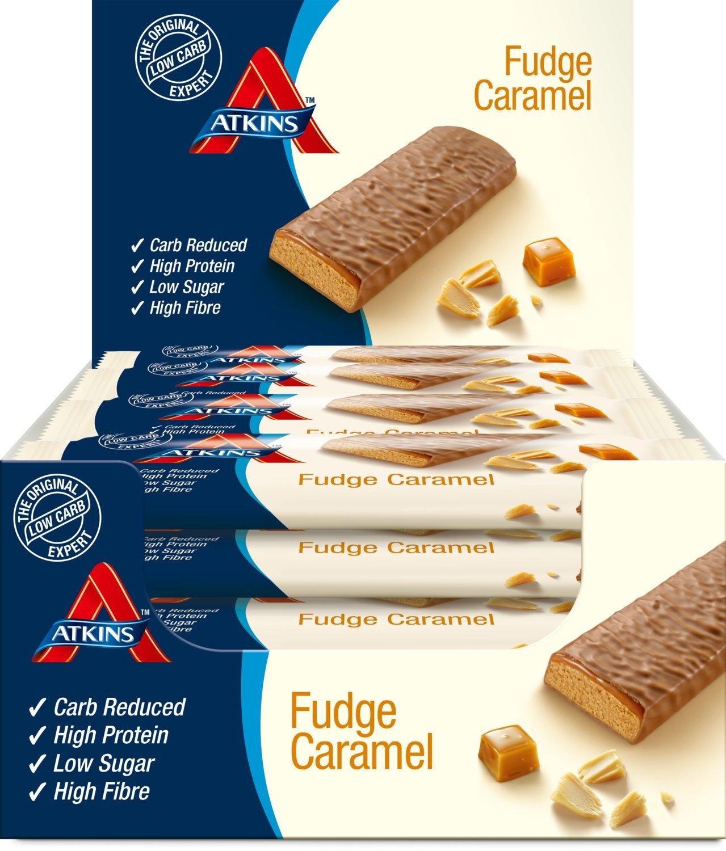 Atkins 60 g Fudge Caramel Bar - Pack of 16 by Atkins