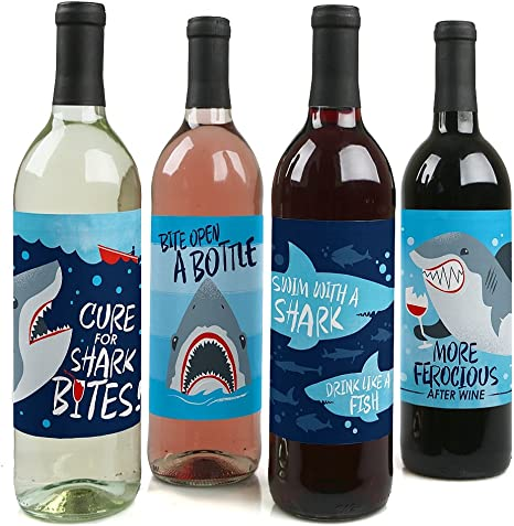 Big Dot of Happiness Shark Zone - Jawsome Shark Viewing Week Party Decorations for Women and Men - Wine Bottle Label Stickers - Set of 4