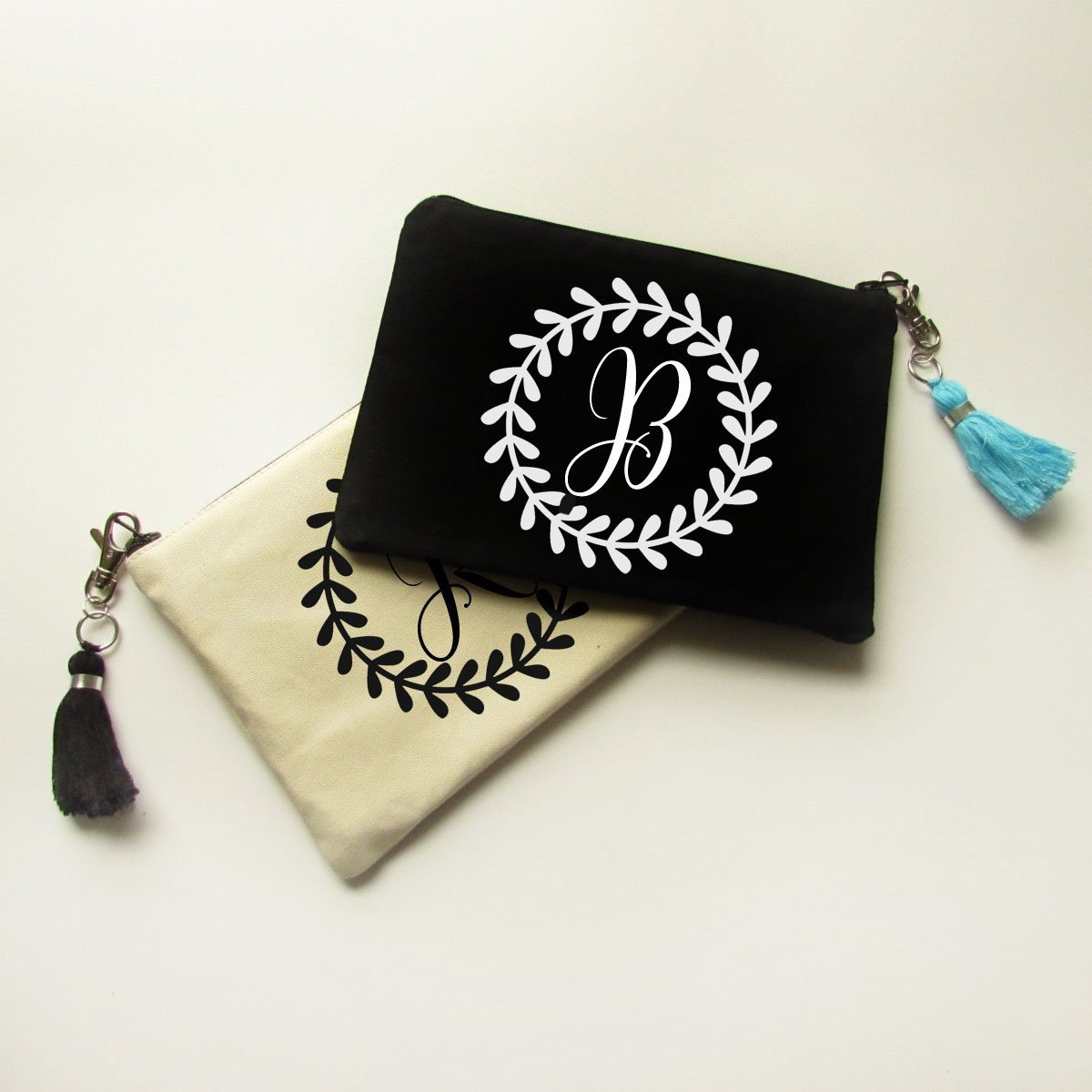 Personalized Makeup Bag with Tassel Gift for Bridesmaids - Canvas Pouch with Name & Bridal Party Title - M30