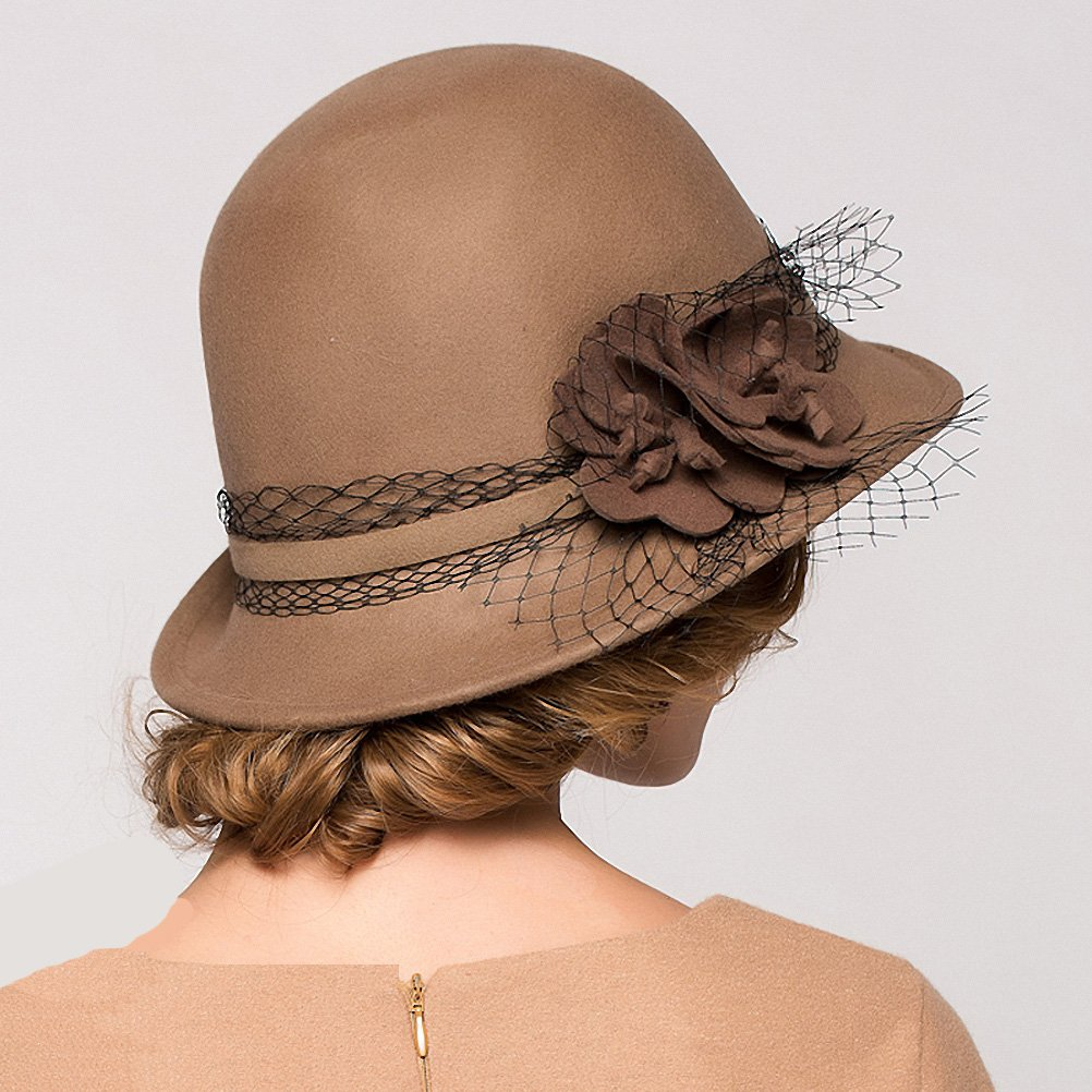Maitose&Trade; Women's Wool Felt Bowler Hat Camel by Maitose (Image #6)