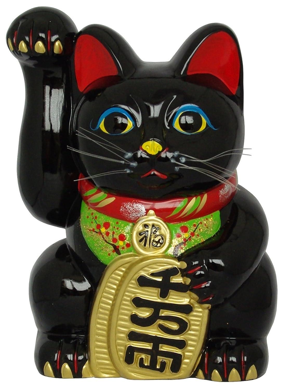国産 常滑焼 招き猫 風水手長小判猫 黒 左手 10号 764-42-904 B00TYK4TKE 10号|左手 10号