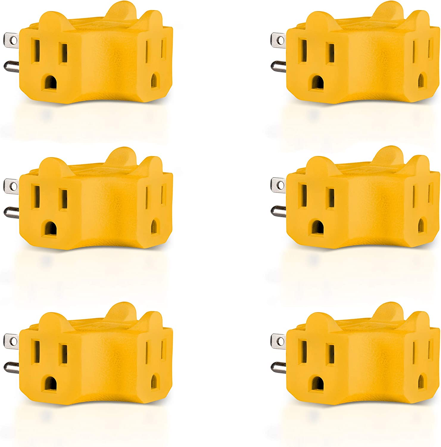 Colorful 3 Outlet Grounded AC Power 2 Prong Swivel Light Wall Tap Adapter Listed